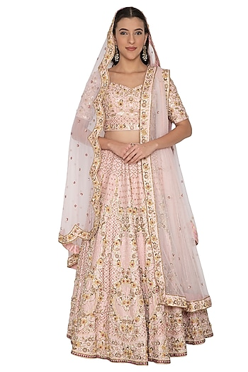 Blush Pink Embroidered Lehenga Set With Two Dupattas by Renee Label