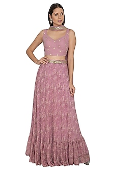 Mauve Embroidered Lehenga Set by Renee Label
