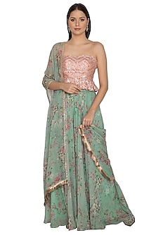 Mint Blue & Blush Pink Printed Embroidered Sharara Set by Renee Label