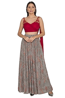 Slate Grey Embellished Draped Lehenga Set by Renee Label