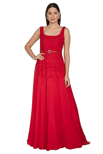 Crimson Red Embroidered Gown With Belt by Renee Label