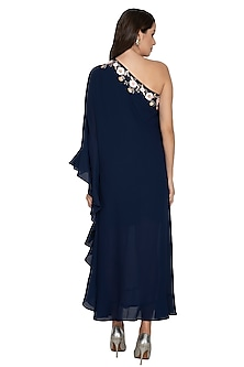 Navy Blue Embroidered Kaftan With Pants by Renee Label