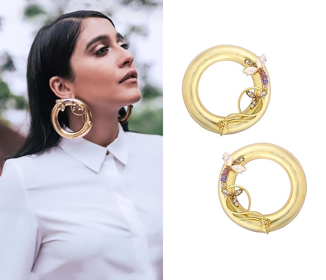 Gold Plated Drumroll Viti Stem Earrings by Ornamaas
