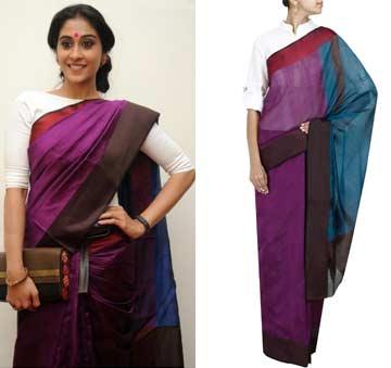 Purple colour blocked sari by Payal Khandwala