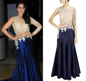 Navy blue and beige embroidered sheer gown by Ridhi Mehra