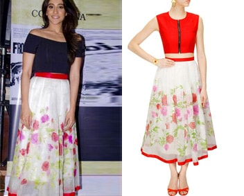 Off-white and red flora hand painted skirt by Vasavi Shah