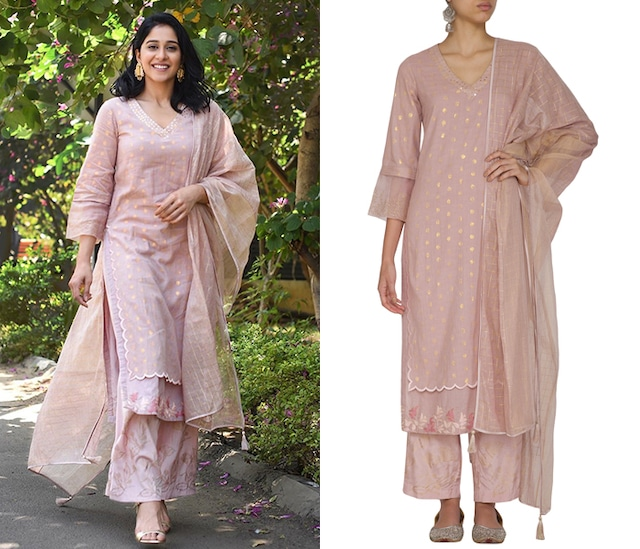 Onion Pink Embroidered Printed Kurta Set by Devnaagri