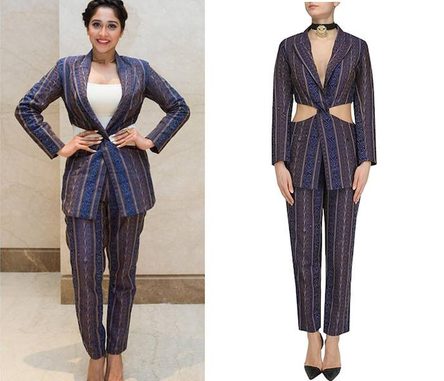 Blue Ikkat Printed Twisted Jacket and Pants Set by Priya Agarwal