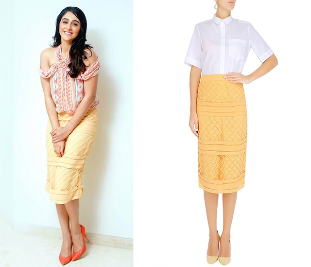 Yellow Cross Stitch and Cord Detail Pencil Skirt by Ritika Bharwani