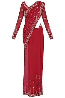 Rose Red Embroidered Saree Set by Renee Label