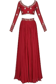Rose Red Embroidered Lehenga Set by Renee Label