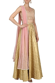 Gold and Nude Embroidered Lehenga Set by Renee Label