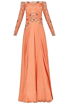 Tangerine Off Shoulder Embroidered Gown by Renee Label
