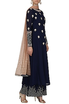 Navy Blue Embroidered Kurta and Palazzo Set by Renee Label-SHOP BY STYLE
