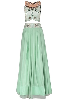 Mint Embroidered Lehenga Set by Renee Label