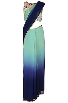 Mint Navy Blue Ombre Saree with Blouse by Renee Label