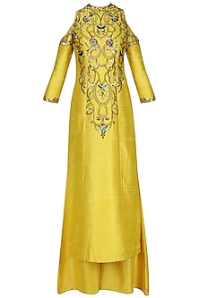 Amber Yellow Embroidered Kurta with Palazzo Pants by Renee Label
