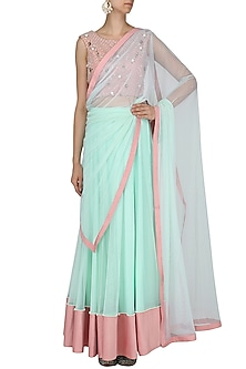 Mint and Blush Pink Lehenga Set by Renee Label
