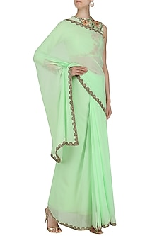 Pistachio Embroidered Saree with Blouse by Renee Label