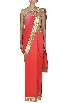 Tangerine and Red Ombre Embroidered Saree with Blouse by Renee Label