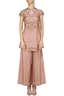 Nude Nouveau Embroidered Kurta Palazzo Set by Renee Label