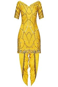 Amber Yellow Nouveau Embroidered Kurta Dhoti Set by Renee Label