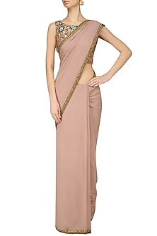 Nude Nouveau Embroidered Blouse and Saree Set by Renee Label