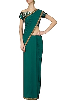 Teal Floral Scatter Embroidered Blouse and Saree Set by Renee Label