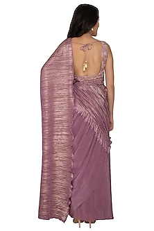 Mauve Embroidered Saree Set by Renee Label