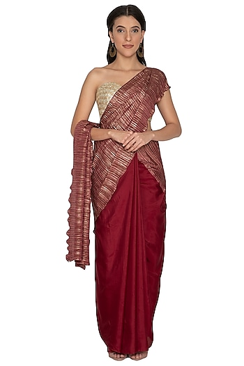 Maroon Metallic Embroidered Saree Set by Renee Label