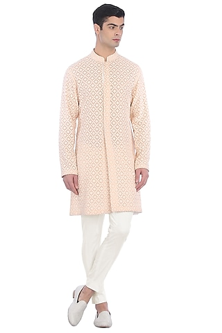 Beige & White Embroidered Sherwani Set by Rohit Gandhi & Rahul Khanna Men