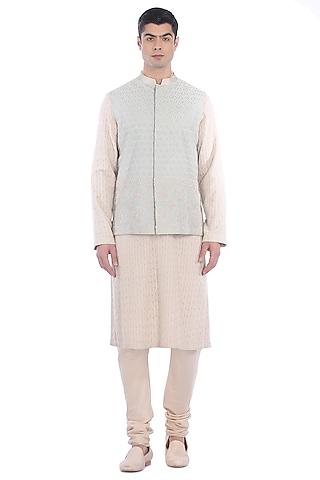 Blue & Beige Kurta Set With Waist Jacket by Rohit Gandhi & Rahul Khanna Men