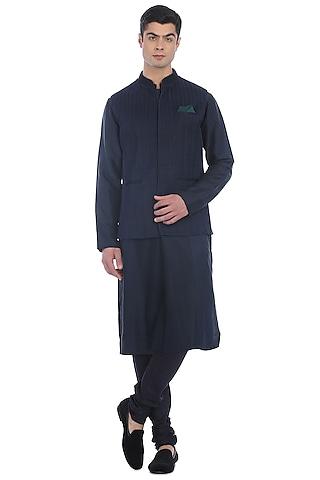 Navy Blue Kurta Set With Waist Jacket by Rohit Gandhi & Rahul Khanna Men
