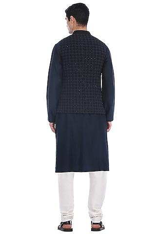 black Kurta Set With Waist Jacket by Rohit Gandhi & Rahul Khanna Men