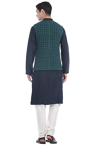 Emerald Green Kurta Set With Waist Jacket by Rohit Gandhi & Rahul Khanna Men