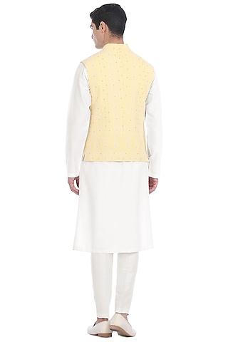 White Kurta Set With Waist Jacket by Rohit Gandhi & Rahul Khanna Men