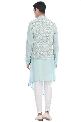 Aqua Blue Kurta Set With Waist Jacket by Rohit Gandhi & Rahul Khanna Men