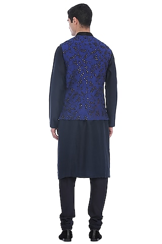 Grey Kurta Set With Navy Blue Waist Jacket by Rohit Gandhi & Rahul Khanna Men
