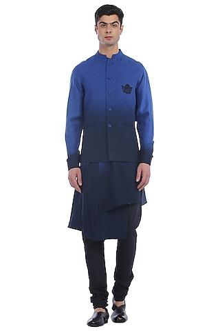 Navy Blue Ombre Kurta Set With Waist Jacket by Rohit Gandhi & Rahul Khanna Men