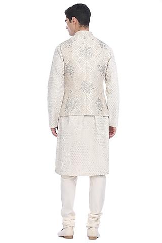 White Kurta Set With Brocade Waist Jacket by Rohit Gandhi & Rahul Khanna Men