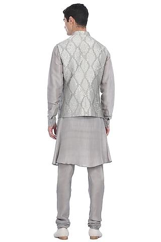 Silver Kurta Set With Embroidered Waist Jacket by Rohit Gandhi & Rahul Khanna Men