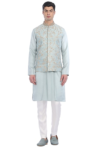 Light Blue Kurta Set With Waist Jacket by Rohit Gandhi & Rahul Khanna Men