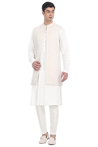 White Pintuck Kurta Set With Waist Jacket by Rohit Gandhi & Rahul Khanna Men