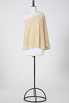 Yellow Embroidered One Shoulder Top by Rohit Gandhi & Rahul Khanna-POPULAR PRODUCTS AT STORE