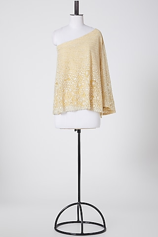 Yellow Embroidered One Shoulder Top by Rohit Gandhi & Rahul Khanna