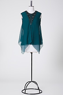 Forest Green Embroidered Top by Rohit Gandhi & Rahul Khanna-POPULAR PRODUCTS AT STORE