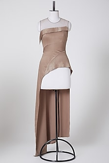 Beige Asymmetric Draped Top by Rohit Gandhi & Rahul Khanna-POPULAR PRODUCTS AT STORE