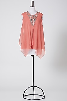 Coral Embroidered Top by Rohit Gandhi & Rahul Khanna-POPULAR PRODUCTS AT STORE