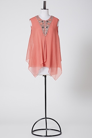 Coral Embroidered Top by Rohit Gandhi & Rahul Khanna