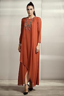 Flame Brown Textured Dress by Rohit Gandhi & Rahul Khanna